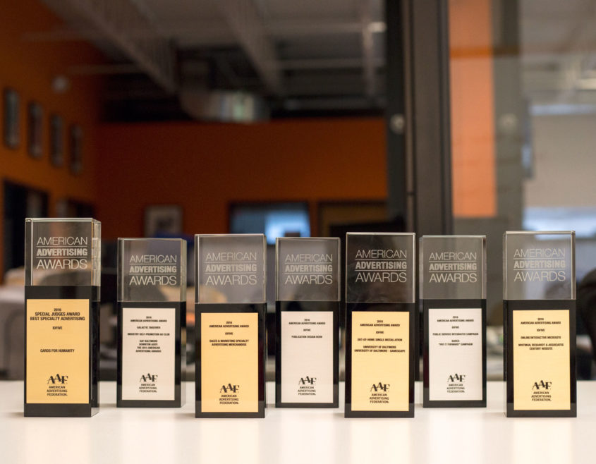 idfive's Trophies from the Baltimore American Advertising Awards