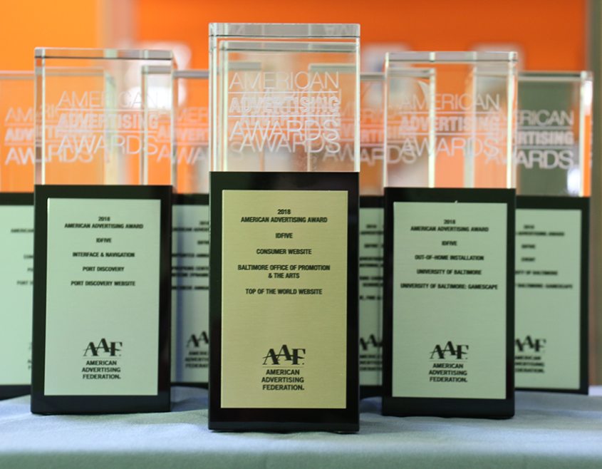 Baltimore Advertising Awards trophies awarded to idfive