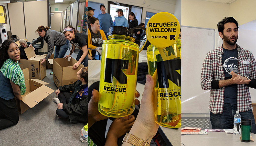 idfive employees volunteering with the International Rescue Committee