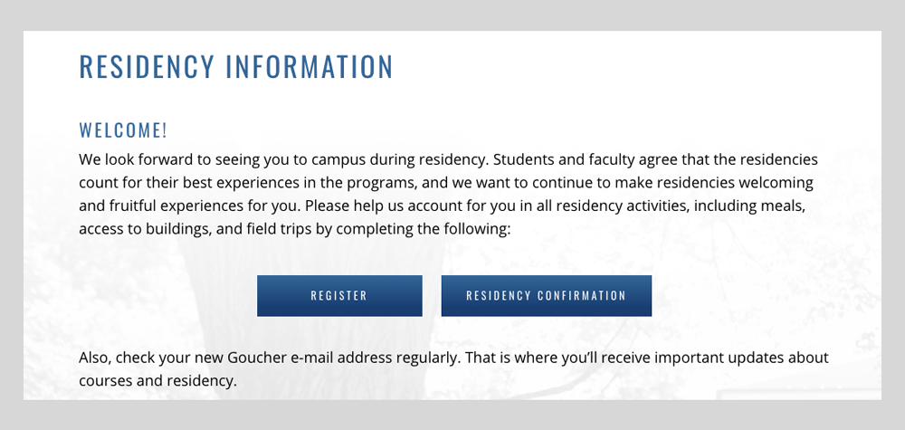 Goucher College Residency Website