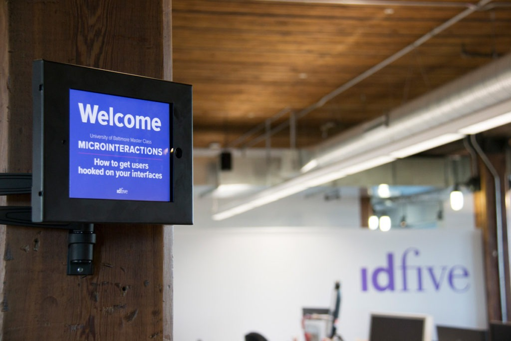 Welcome sign for idfive class of microinteractions