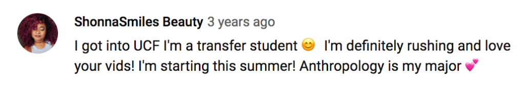 Facebook comment about a transfer student being accepted