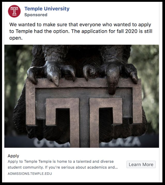 Temple University Social Media Sponsored post