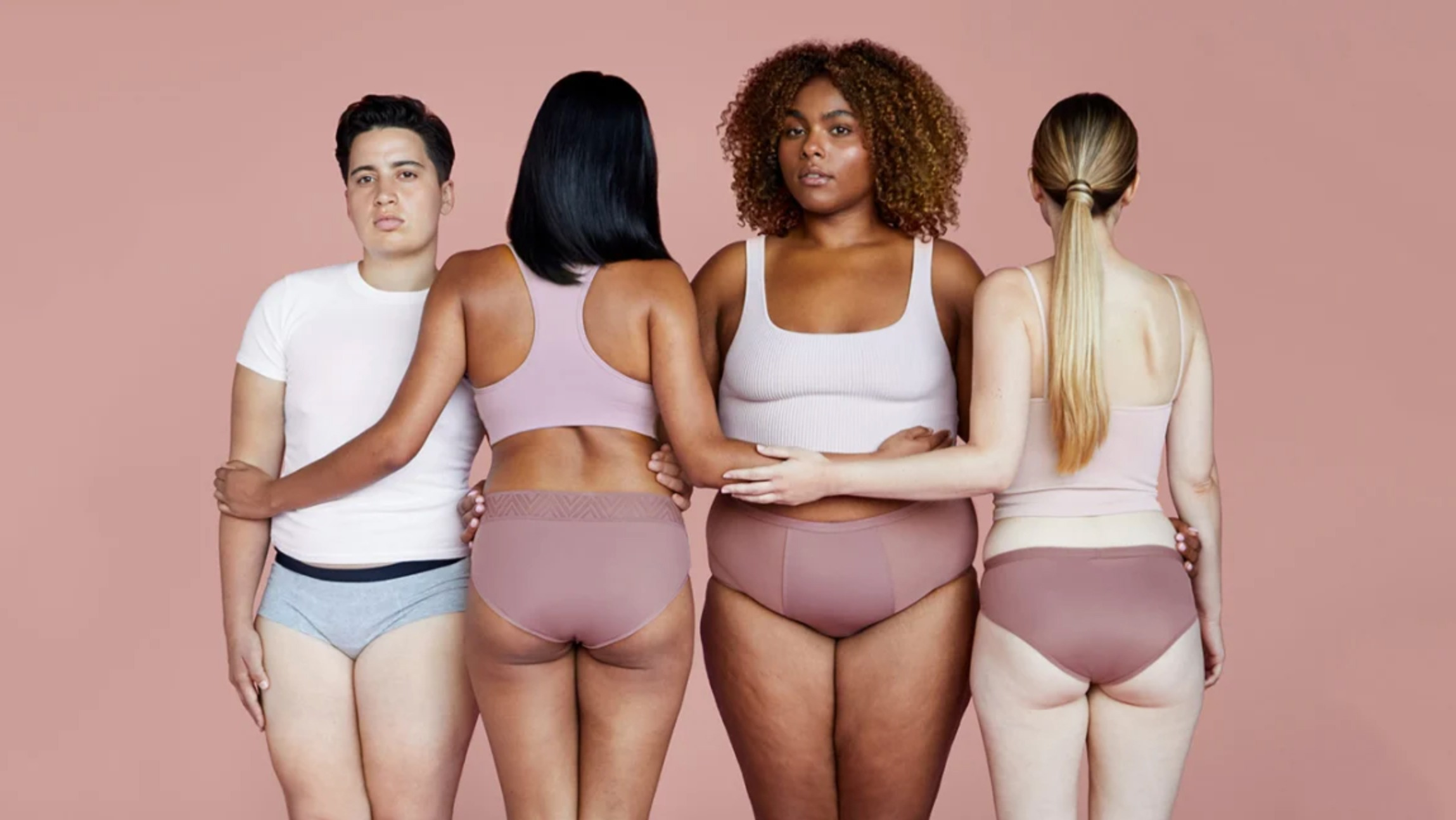 Thinx ad with 4 women wearing their products